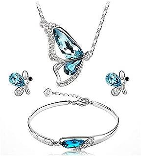 3Pcs Butterfly Pendant Necklace Bracelet Earring for Women CZ Gemstone Cubic Zirconia Initial Heart Bangle Bracelet