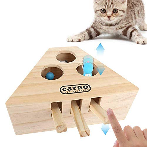 Volwco Cat Hunt Toy Cat Interactive Exercise Toys Wooden Puzzle Box Whack A Mole...