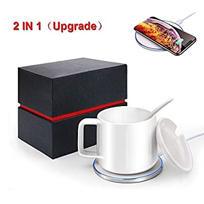 AriTan 2 in 1 Wireless Heating Mug ? Wireless Charger (200ml), Support All Devices Enables Qi Standard, Constant Temperature for Keeping Warm (about 122°F/50°C)-Gifts for Mom-Best Mothers Day Gifts