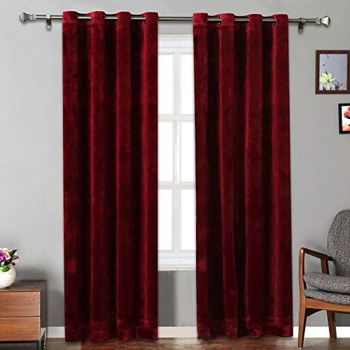 Rose Home Fashion Velvet Curtains for Living Room - Soft Luxury Thermal Insulated Curtains, Grommet Curtains, Set of 2 Panels (50x84 Burgundy)