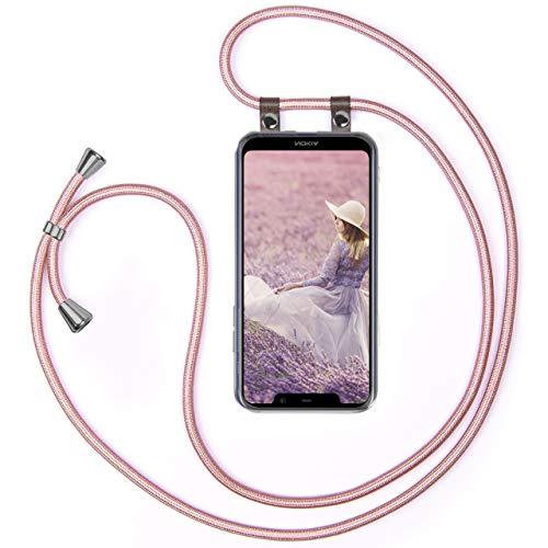 moex Handykette kompatibel mit Nokia 5.1 Plus Hülle mit Band Längenverstellbar, Handyhülle zum Umhängen, Silikon Hülle Transparent mit Kordel Schnur abnehmbar in Rosegold