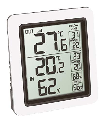 TFA Dostmann Info Funk-Thermometer inkl. Außensender Kat-Nr. 30.3065.02, Weiß, L85 x B55 x H125 mm