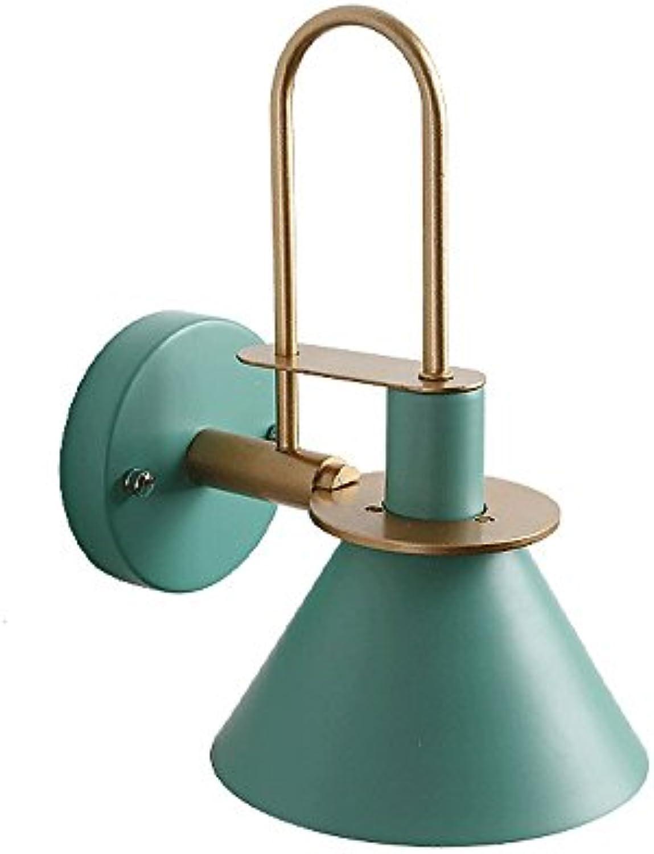 IBalody Kreative Einfache Nordic Wandleuchte Moderne Mode E27 Wandlaterne Leuchte Wohnzimmer Gang Schlafzimmer Kopfteil Macarons Horn Wandleuchte (Farbe   Grün)