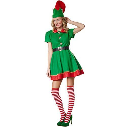 dressforfun 900574 Disfraz de Mujer Elfo de Navidad, Disfraz Navideño Rojo y Verde (S| No. 302758)