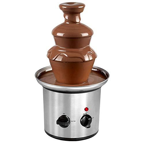 JIEZ Fuente de Chocolate de 3 Niveles, máquina de fusión de Chocolate eléctrica de Acero Inoxidable, Ideal para la Fiesta de cumpleaños de Bodas en el hogar