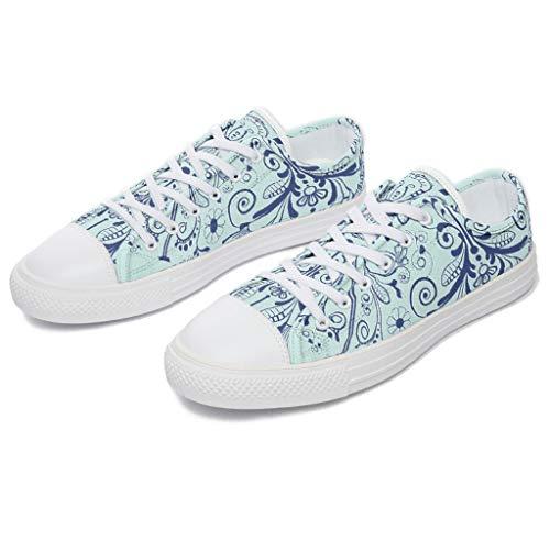 Toomjie Unisex Hombres Mujeres Medianoche Azul Serie Mandala Zapatillas Casual Cómodo Bajo Top Lace Up Running Canvas Zapatos para Medics Enfermeras, Color Blanco, Talla 44 EU