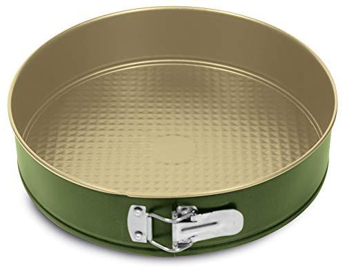 Guardini Bnat, Tortiera apribile 1 fondo 22cm, Acciaio con rivestimento antiaderente a base di Cera di Carnauba, Colore verde/beige