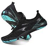Rotok Schwimm Schuhe für Damen und Herren Bade Schuhe Strand Schuhe Aqua Schuhe Wasser Schuhe Surf Schuhe Farbe:001 Schwarz Wasser Blau Größe:37EU