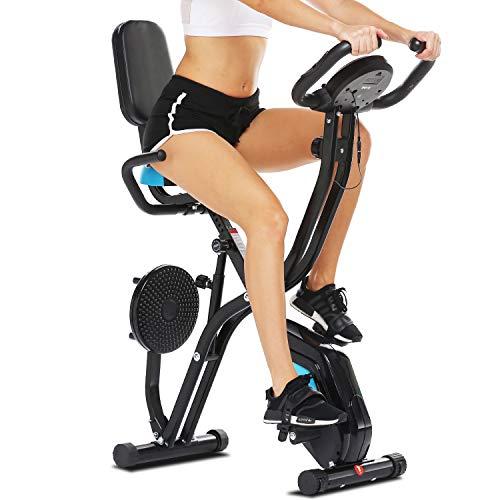 Profun Vélo de Fitness Pliable Vélo d'Appartement avec Disque de Sport pour Les Reins, Vélo d'exercice à l'Intérieur 10 Niveaux de Résistance Magnétique& Siège Large et Confortable