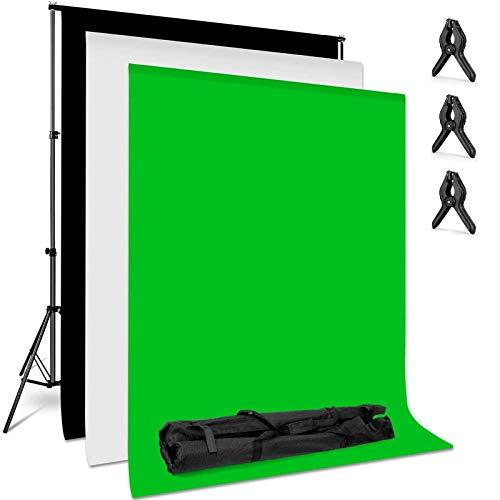 amzdeal 2 * 3m Support Système de Toile de Fond avec 3pcs 2 * 1.6m Backdrop(Vert/Blanc/Noir) en Tissu Lavable et Repassable Photographie Réglable en Hauteur 66-200cm pour Photo Studio Portrait Vidéo