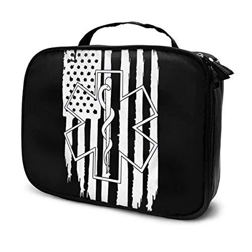 Bolsa de maquillaje portátil con diseño de bandera estadounidense EMS Star of Life para mujeres y niñas