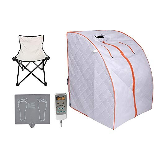 ZONEMEL Portable Far Infrared One Person Sauna, Home Spa Detox Therapy, Heated Floor Pad, Upgrade Chair (Silver Orange)