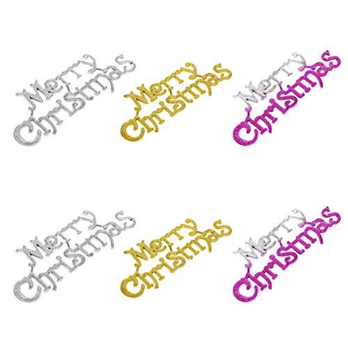 Toyandona - 6 letreros colgantes con purpurina para Navidad, fiestas, decoración del hogar, color dorado y plateado y morado