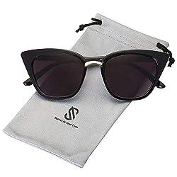 SOJOS Schick Rechteckig Katzenaugen Voll-Rahmen Sonnenbrille Damen Herren SJ2052 mit Schwarz Rahmen/Grau Linse