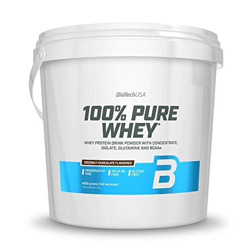 BioTechUSA 100% Pure Whey Complesso di proteine del siero con aminoacidi e dolcificanti, senza glutine, senza olio di palma, 4 kg, Cocco-Cioccolato