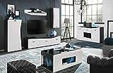 Moderne Wohnwand Anbauwand Rizo Schrankwand Weiß Schwarz Kommode Couchtisch 10 (Wohnwand)
