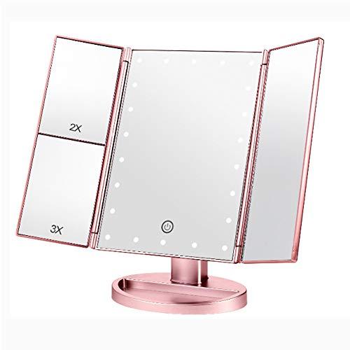 SHIQ Espejo De Maquillaje De Tres Pliegues con Luz, Espejo, Espejo De Maquillaje LED De Aumento Y Luminoso, Espejo De Tocador De Almacenamiento De Escritorio 1X, 2X, 3X, 10X