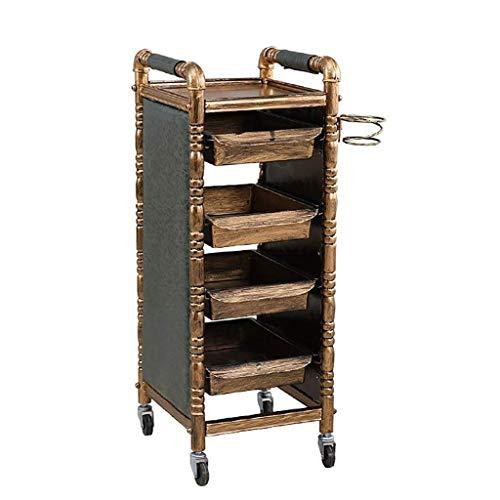 DW shelf 5 Tiers Retro Salon-Aufbewahrungswagen Friseur Barber Beauty Tablett mit 4 Gold Schubladen...