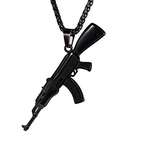 U7 Collares Negros de Pistola AK47 Colgantes dudaderos de Hombres Material Acero Inoxidable 316L