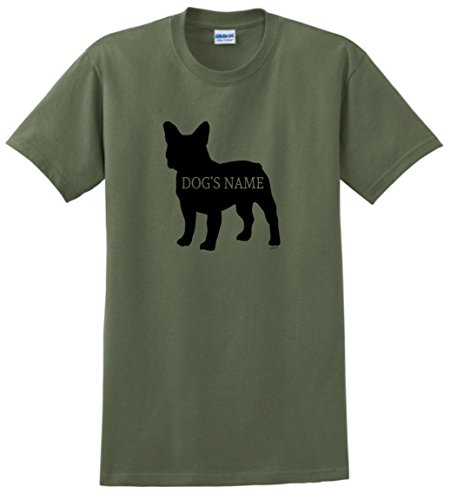 Personalized Dog Collar Personalized French Bulldog Add Dog's Name Custom T-Shirt Large MlGrn Military Green