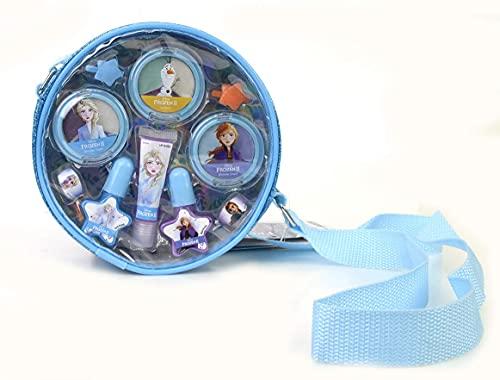 Markwins Disney Frozen II Beauty Fashion Bag – Umhängetasche mit Reißverschluss enthält Schmuck und wasserlösliche Kinderschminke für Augen, Lippen und Nägel im Anna & Elsa-Design
