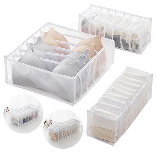 Unterwäsche Schubladen Organizer, Aufbewahrungsbox Für Unterwäsche, Faltbox Kleiderschrank Organizer für BHS, Socken, Unterhosen Und Krawatten Aufbewahrungsboxen (Weiß)