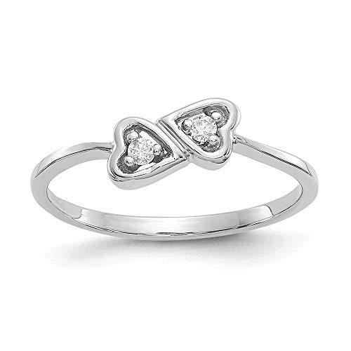14ct de oro blanco pulido de diamantes en bruto Anillo Corazón - tamaño L 1/2 - JewelryWeb