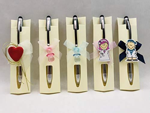 Bolígrafos GRABADOS regalos detalles invitados boda, bautizo, comunión (pack 15 unidades) Boli+puntero táctil móvil+linterna PERSONALIZADO y decorado.