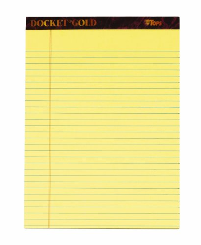 TOPS Docket Gold Writing Tablet, 8-1/2 x...