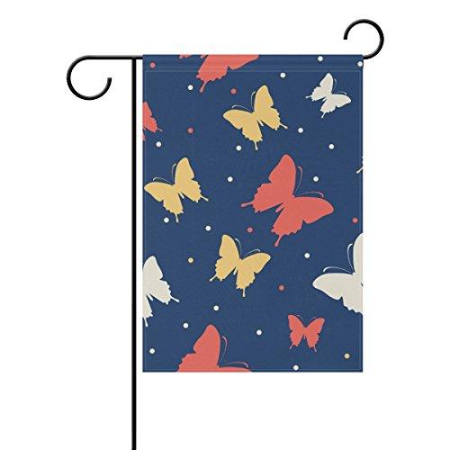 Bennigiry dessinés à la main d'encre Papillon Polyester Garden Drapeau Bannière 30,5 x 45,7 cm, Seasonal Jardin Drapeau pour l'extérieur décoratif Drapeau pour mariage, Polyester filé, multicolore, 28x40(in)