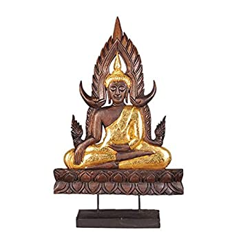 ZHANGAIGUO Solid Wood Buddha Ornaments 14.5/25inch Tall Indoor Meditating Statuary Décor Buddha Statue Two Size Zen Chinese Style Living Room Porch Decorations Wood Carvings  Color   Large
