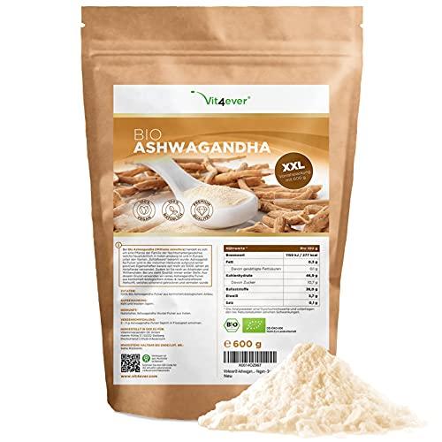 Raíz de Ashwagandha orgánica en polvo 600g - 100% genuina Ashwagandha india (Withania Somnifera) de cultivo orgánico controlado - Vegano