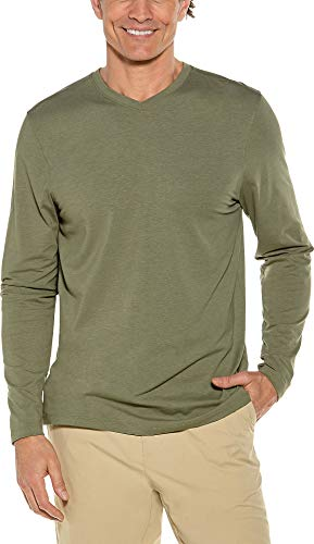 Coolibar UPF 50+ Men's Morada Everyday Long Sleeve V-Neck T-Shirt - Sun Protective (X-Large- Olive)