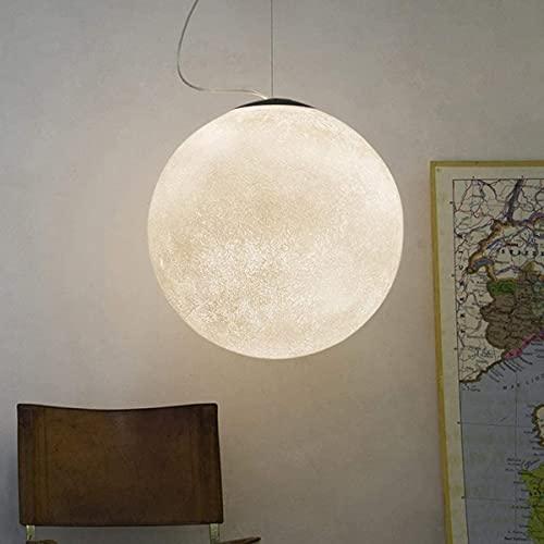 Araña de luna creativa, moderno LED de impresión 3D luna luna colgante de techo Lámpara E27 Habitación para niños Restaurante Café Hotel Foyer Decoración Iluminación Colgante, Diameter25cm