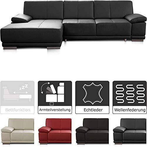 CAVADORE Eckcouch Corianne / Modernes Leder-Sofa mit verstellbaren Armlehnen und Longchair / 282 x 80 x 162 / Echtleder, schwarz