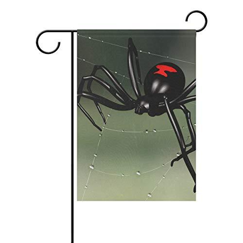 Jessgirl Vintage Garden Flag para Exterior Animal Insect Widow Black Spider 28x40 Inch Double Sided Yard Farm Patio Modern Decor