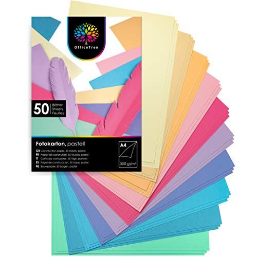 OfficeTree Tonkarton Pastell A4 - Tonpapier 50 Blatt Pastellfarben 300g/m² - 10 Farben - Fotokarton A4 zum Basteln und Gestalten - Tonpapier A4 Blauer Engel zertifiziert