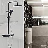 YISUNF Europeo, Moderno, Metal Cobre Negro Baño Ducha Set de 3 funciones de ducha de mano Sistema de pared retro del grifo a presión de pulverización superior de la correa del estante Hermosa práctica