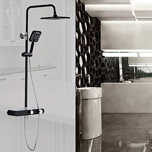 LHQ-HQ Europeo, Moderno, Metal Cobre Negro Baño Ducha Set de 3 funciones de ducha de mano Sistema de pared retro del grifo a presión de pulverización superior de la correa del estante Hermosa