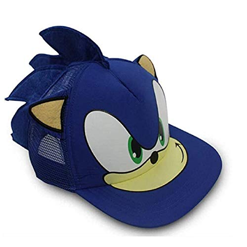 LACKINGONE Cosplay The Sonic Hedgehog Baseball Hat for Cartoon Game Cosplay Costume Adjustable Hats with Ears Blue