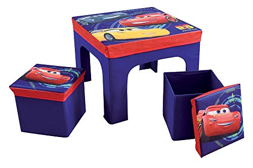 Fun House 712641 CARS Table avec 2 Tabourets de Rangement Pliables pour Enfant
