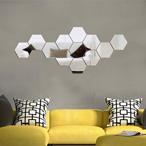 VICSPORT Adhesivo de pared acrílico con efecto espejo, 12 piezas hexagonales para decoración del hogar