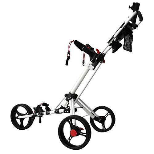 Lowest Price! ANJING 3 Wheel Push Pull Golf Cart with Foot Brake, Cup Holder, Umbrella Stand and Organizer, One Second to Open and Close Folding Cart,White