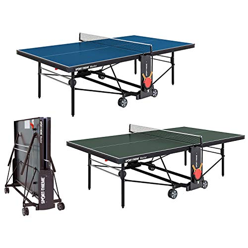 Sport-Thieme Tischtennisplatte Master | Indoor-Tisch für Vereinssport | Klapp- und Rollbar | Playback-Funktion | Schläger- und Ballhalterung | 184x72x155 cm | Markenqualität