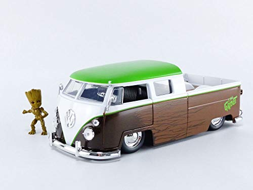 Jada Toys Marvel Guardians of The Galaxy Groot & 1963 Volkswagen Bus Pickup 1:24 die-cast Vehicle with Figure (31202)