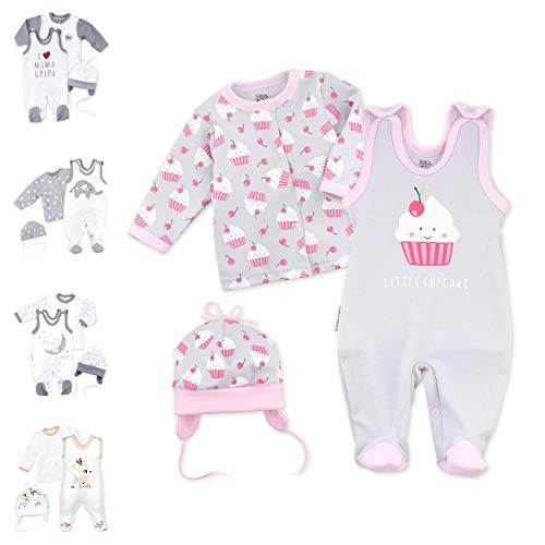 Baby Sweets 3er Baby-Set mit Strampler, Langarm-Shirt & Mütze für Mädchen in Rosa/Baby-Erstausstattung als Strampler-Set im Cupcake-Motiv für Neugeborene & Kleinkinder in Größe: Newborn (56)