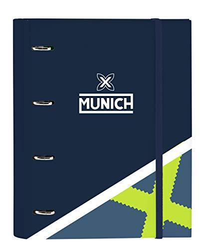 Safta- Munich Carpeta 4 Anillas de 30mm, Color azul oscuro/gris azulado, 270x35x320 mm (512098666)
