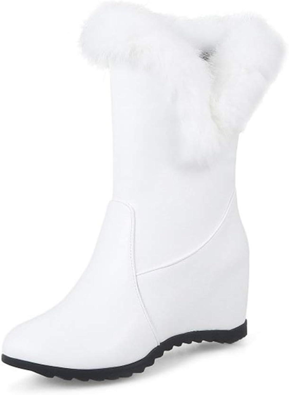 GIY Women's Winter Fur Mid Calf Wedge High Snow Boot Fashion Waterproof Platform Rain Cold Warm Snow Boots