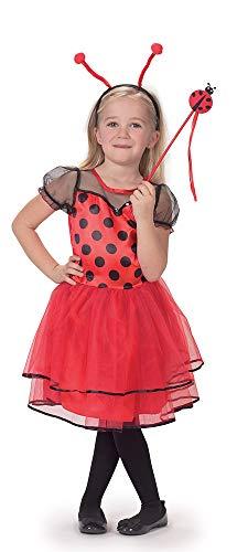 Caritan-480077 - Vestito da coccinella con bacchetta e cerchietto per travestimenti, bambina, 480077, nero/rosso, 3-4 anni