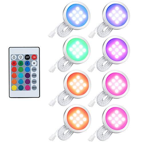 Lixada Juego de 8 luces LED RGB, con mando a distancia para armario de libros, de pared, forma redonda y fina, luz de bajo muebles, cambio de color, intensidad regulable